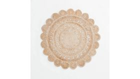 Image of a 4' Round Flower Jute Rug #1