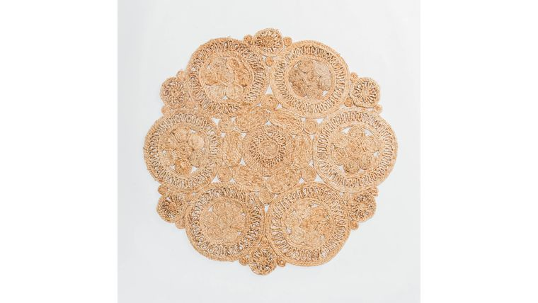 Picture of a 4' Round Flower Jute Rug #2