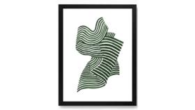 Image of a Framed Green Swirl Print