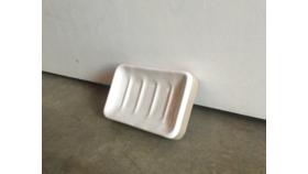 Image of a Grey and Cream Ceramic Soap Dish