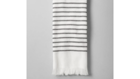 Image of a Grey & White Striped Hand Towels with Fringe