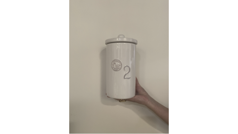 """Picture of a """"2"""" White Si Bon Canister"""