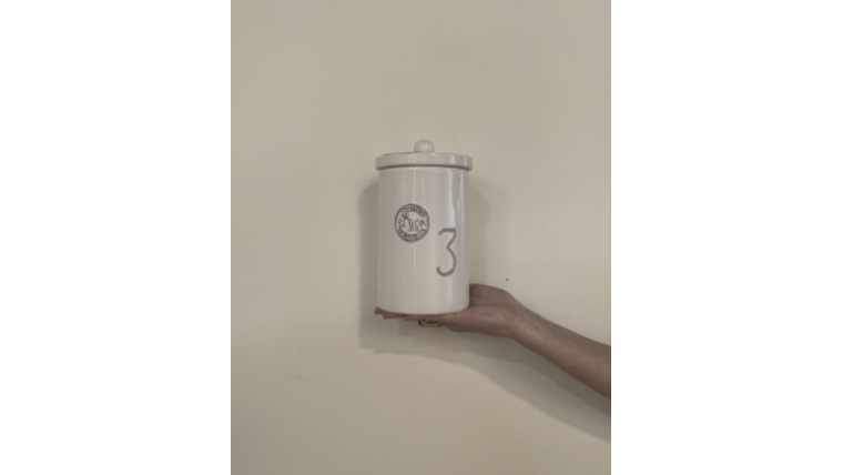 "Picture of a ""3"" White Si Bon Canister"