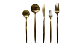 Image of a 5-Piece Flatware- Modern Gold
