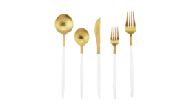 Image of a 5-Piece Flatware- Modern Gold Dipped White