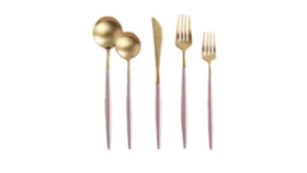 Image of a 5-Piece Flatware- Modern Gold Dipped Blush