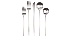Image of a 5-Piece Flatware- Modern Silver