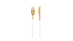 Image of a 2-Piece Flatware- Modern Gold Dipped White