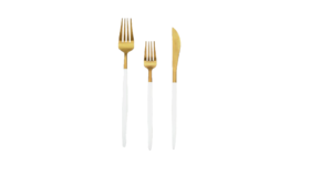 Image of a 3-Piece Flatware- Modern Gold Dipped White