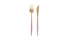 Image of a 2-Piece Flatware- Modern Gold Dipped Blush