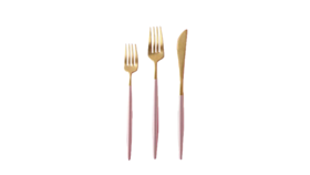 Image of a 3-Piece Flatware- Modern Gold Dipped Blush