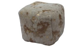 Image of a GOLD COWHIDE POUF