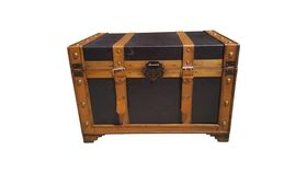 Image of a BLACK & BROWN LEATHER TRUNK
