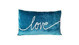 Image of a 'LOVE' SCRIPT TEAL PILLOW