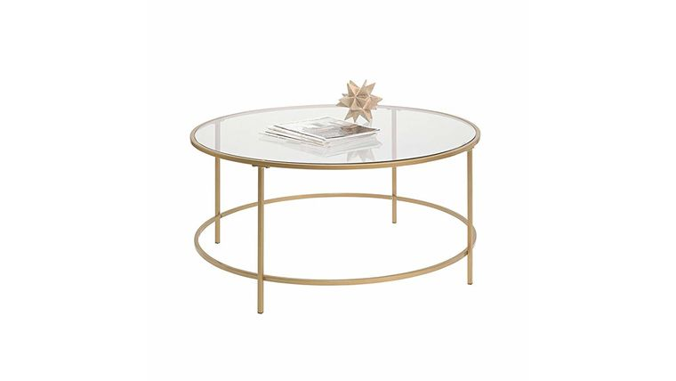 Picture of a GOLD & GLASS COFFEE TABLE