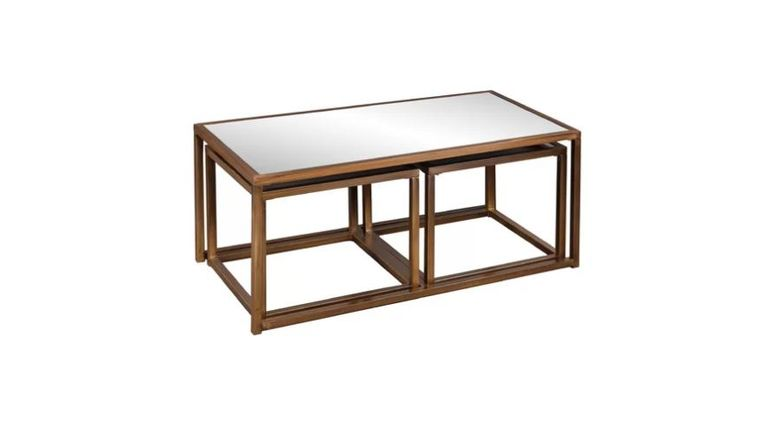Picture of a BRASS MIRRORED COFFEE TABLE