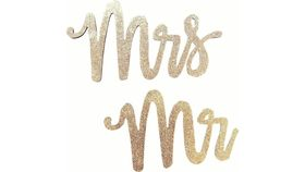 Image of a MR & MRS> GOLD GLITTER SIGN