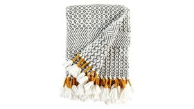 Image of a GREY & MUSTARD FRINGE THROW
