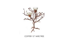 "Image of a 13"" Copper Wire Trees w/ 2 Votives"
