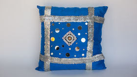 Image of a BLUE BEADED PILLOW