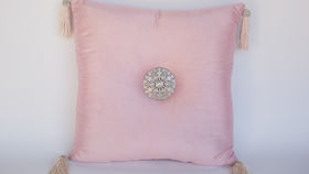Image of a BABY PINK BEADED PILLOW