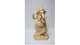 Image of a CREAM GANESH STANDING (FLUTE) - LARGE