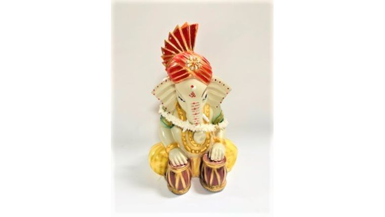 COLORFUL GANESH - WITH TURBAN (TWO DRUMS) : goodshuffle.com