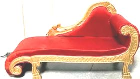 Image of a ASYMMETRICAL - RED/GOLD SOFA