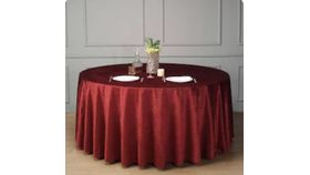 Image of a 132 ROUND MAROON SHANTUNG TABLECLOTHS