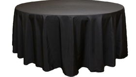 "Image of a 108"" Round Polyester Black"