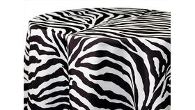 "Image of a 120"" Round Polyester Black & White Zebra"