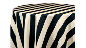 "Image of a 120"" Round Polyester Black & White Cabana Stripe"