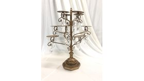 Image of a 12 piece - gold/crystal candle stand