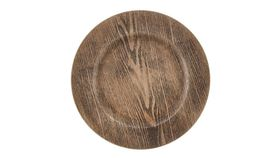 Image of a Acrylic Brown Wood Grain Charger - 13""