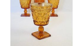 Image of a Amber Goblet, Square Bottom