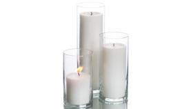 Image of a 3pc Cylinder Set + Ivory Pillar Candlelight