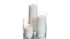 Image of a 3pc Cylinder Set + White Pillar Candlelight