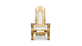Image of a Gold and White Lion Throne