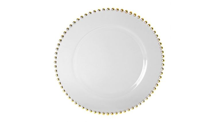 "Picture of a 13"" Charger Plate Clear Glass w/ Gold Beads Dinnerware"