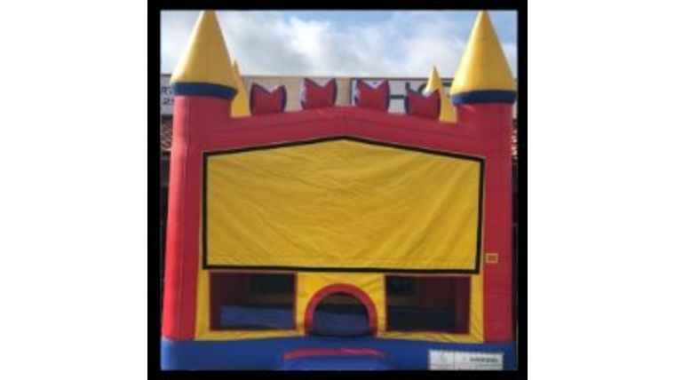 Picture of a 13' x 13' Castle Jumper w/ Basketball Hoop