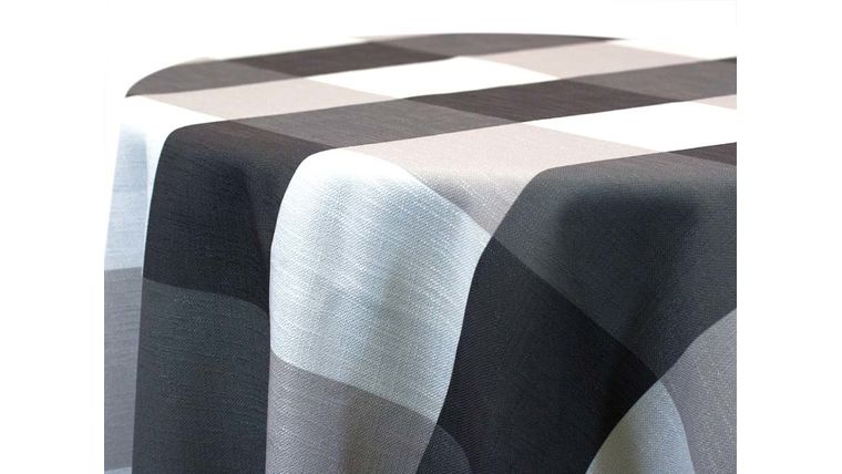 """Picture of a 54""""x54"""" Polyester Black & White Gingham Overlays"""