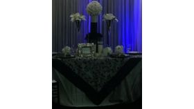 "Image of a 54""x54"" Black Organza/Satin Scroll Table Topper"