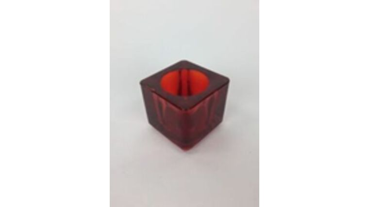 Picture of a Glass Cube Red Votive