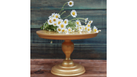 "Image of a 15"" Gold Cake Stand"