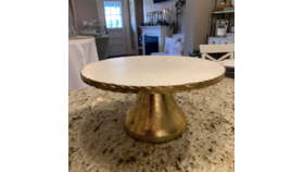 Image of a 11.75 Gold and Marble Cake Stand