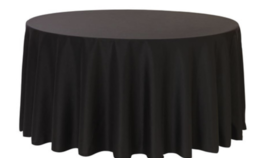 Image of a 136 Round Black Tablecloth