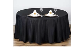 "Image of a 120"" Round Black Tablecloth"