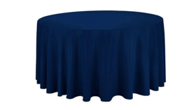 "Image of a 120"" Round Navy Tablecloth"
