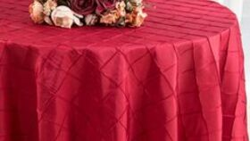 """Image of a Apple Red Round 120"""" Pintuck Taffeta Tabecloths"""