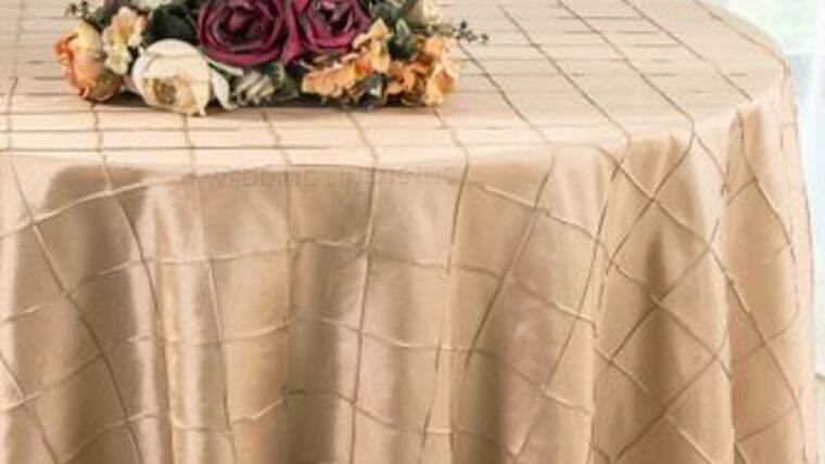 """Picture of a Champagne Round 132"""" Pintuck Taffeta"""